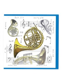 Little Snoring Gifts: Notelets Pack Of Five – French Horn Design