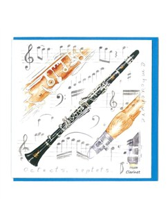 Little Snoring Gifts: Notelets Pack Of Five – Clarinet Design